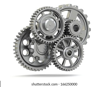 Perpetuum mobile. Metal gears on white isolated background. 3d