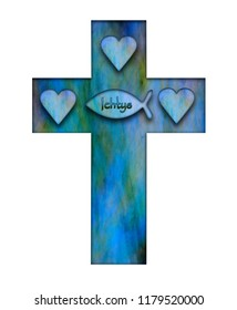 Persecution cross Ichtys sign and heart symbolizing the holy trinity and martyrdom