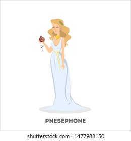 Persephone goddess of the dead. Greek mythology woman from underworld. Isolated  illustration in cartoon style