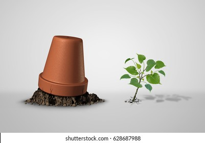 Persevere and powerful and power concept as an upside down flower pot with a sapling plant breaking through as an endurance and tenacity to persist and survive idea with 3D illustration elements.