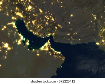 Persian Gulf at night. 3D illustration with detailed planet surface and visible city lights. Elements of this image furnished by NASA.