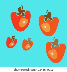 Persimmon pattern, leaves . Hand drawn.