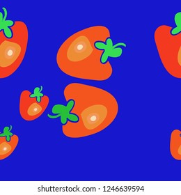 Persimmon  seamless pattern, leaves . Hand drawn.