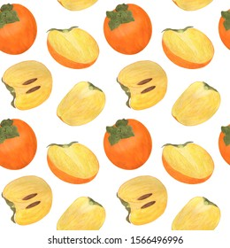 Persimmon Seamless Pattern Watercolor Fruit Digital Paper Food Illustration Botanical