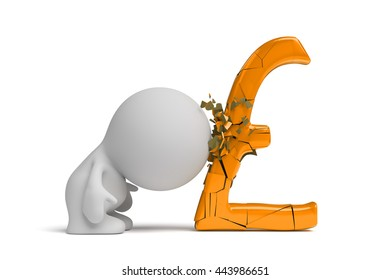 person breaks a huge gold pound sign with head (3d illustration)