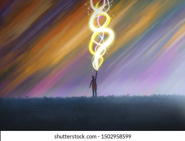 A person or child shooting out glowing beams. Fantasy concept artwork. Original digital illustration.