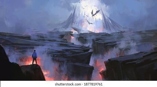 A person facing the purgatory world, digital painting.