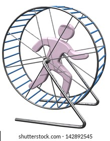 Person gets nowhere running in a hamster mouse or rat cage wheel treadmill