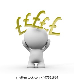 person with golden pound signs around the head (3d illustration)