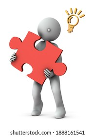 A person holding a big puzzle. It represents the solution of a question. White background. 3D rendering.