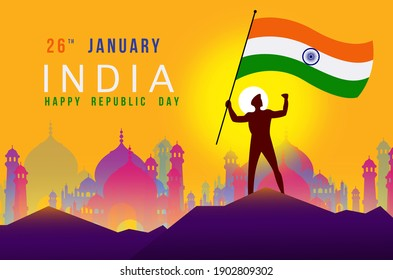 Person holding Indian flag for 26th January 2021 Happy Republic Day India.