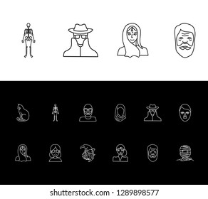 Person icon set and geek girl with mummy, glamour girl and hitler. Dead related person icon  for web UI logo design.