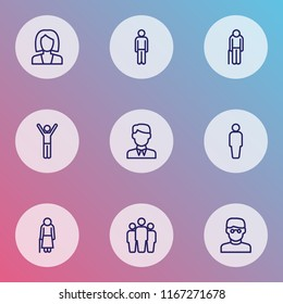 Person icons line style set with oldster, businesswoman, human and other business elements. Isolated  illustration person icons.