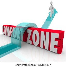 A person jumps over, outside and beyond a comfort zone to gain new experience and grow by trying different things
