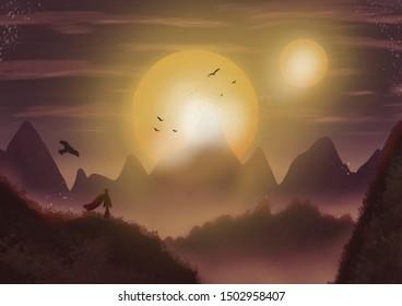 A person looks over a valley at sunest or sunrise.  Fantasy concept artwork. Original digital illustration.