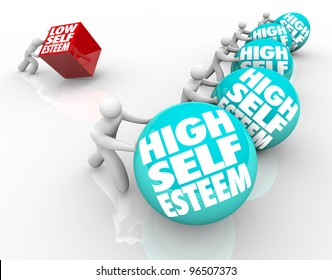 A person with low self esteem is losing the race of life against people with high self assuredness and respect, showing the importance of confidence and attitude
