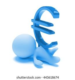 person lying under a huge blue euro sign (3d illustration)