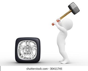 Person make square car wheel by hammer