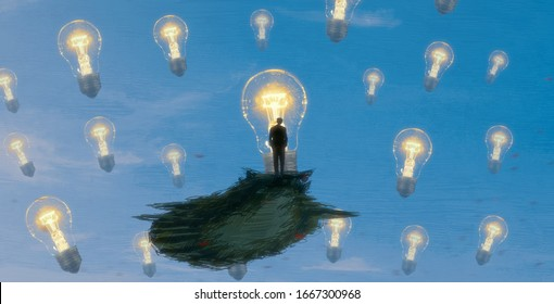 Person on edge. Creativity and innovation. Drawing. Great thought. Infinite space. Object floating. Surreal scene. Philosophical. 2d illustration. Modern art. Fictional.