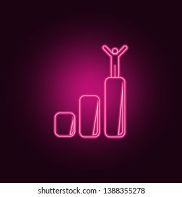 the person on the lifting chart icon. Elements of Sucsess and awards in neon style icons. Simple icon for websites, web design, mobile app, info graphics