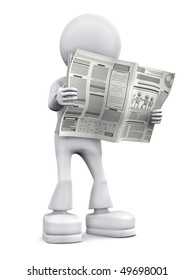 Person read newspaper. 3d image isolated on white background.