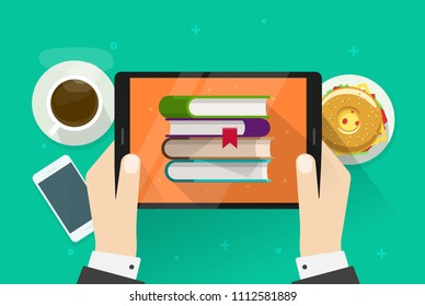 Person reading electronic books on tablet illustration, flat cartoon hands holding digital e-reader device with paper books on display, idea of education tech, studying via ebooks image