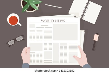 Person reading periodical or printing press with world, global or international news. Man sitting at table or desk and holding newspaper in his hands. Top view. Colorful illustration.