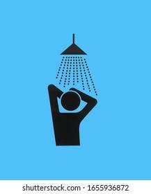 schwarze Duschsymbol auf blauem Hintergrund