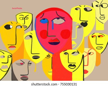 Person with social phobia. Conceptual and colourful illustration showing a person with intense social anxiety when being observed or feeling the spotlight in a social situation.