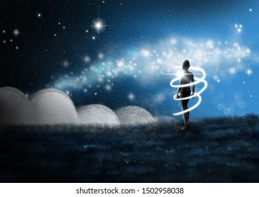A person surrounded by glowing light beams in a sureal world.  Fantasy concept artwork. Original digital illustration.