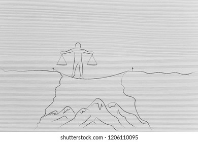 person walking on tightline holding balance scale plates in perfect balance, concept of risks and equilibrium