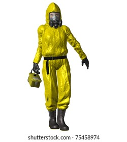 Person wearing a yellow HAZMAT suit, face mask rubber gloves, gas mask, rubber boots and geiger counter. Clean white background, Illustration