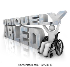 A person in a wheelchair beside the words Uniquely Abled