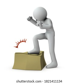 A person who is furious. He is trampling on the cardboard box to relieve his anger. White background. 3D rendering.