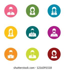 Personage icons set. Flat set of 9 personage icons for web isolated on white background
