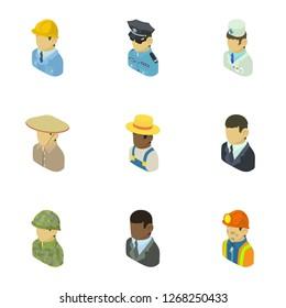 Personage icons set. Isometric set of 9 personage icons for web isolated on white background