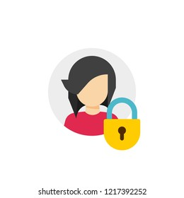 Personal account private protection or locked icon, flat cartoon person profile protected with closed lock, access denied, blocked user account, private user icon, safe or secure data image