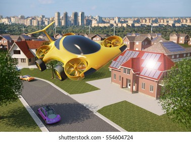 Personal Air Vehicle Flying Above A Solar Powered City, Flying Car Of The Future 3d Concept, Futuristic Vehicle Above A Settlement, Air Car Concept - 3D Rendering