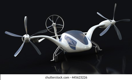 Personal Air Vehicle, Flying Car Of  The Future  3d Concept, Future Car, Futuristic Vehicle Concept Isolated On Black Background,  Air Car Concept - 3D Rendering