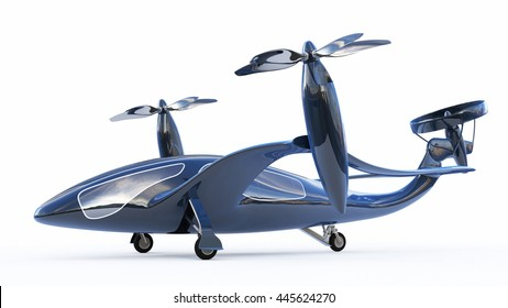 Personal Air Vehicle, Flying Car Of  The Future  3d Concept, Future Car, Futuristic Vehicle Concept Isolated On White Background,  Air Car Concept - 3D Rendering