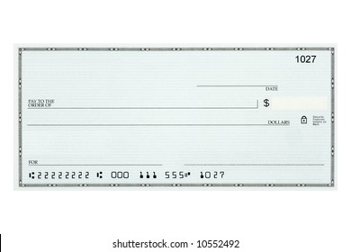 A personal check without names or addresses with fake account numbers.