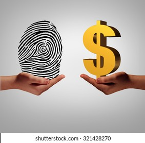 Personal data brokering business concept to buy and sell information as a hand holding a finger print and another person with a dollar symbol as a metaphor for a security identification access.