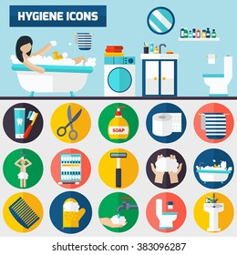Personal hygiene flat icons composition banners