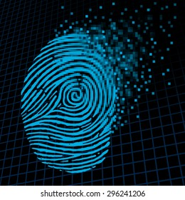 Personal information encryption and private data protection as a digital fingerprint being pixelated into encrypted pixels as a security technology symbol and password protection icon.