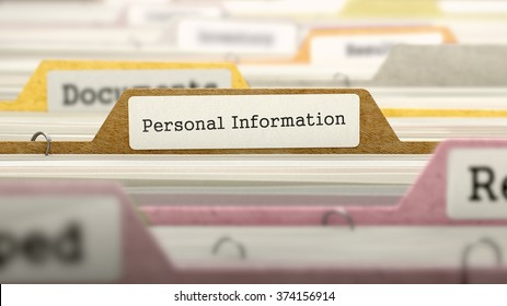 Personal Information - Folder Register Name in Directory. Colored, Blurred Image. Closeup View. 3d Render.
