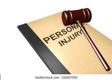 Personal injury titled on legal documents folder with gavel isolated on white