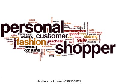 Personal shopper word cloud concept, words related to personal shopper
