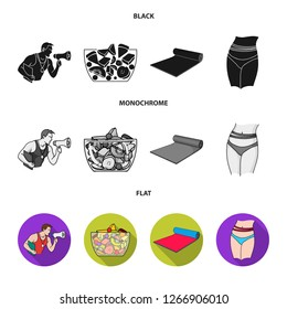 Personal trainer, fruit salad, mat, female waist. Fitnes set collection icons in black, flat, monochrome style bitmap symbol stock illustration web.