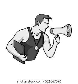 Personal trainer icon in monochrome style isolated on white background. Sport and fitness symbol stock bitmap illustration.