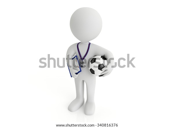 Personal Trainer, with a pad in his hand, isolated in white. 3d image